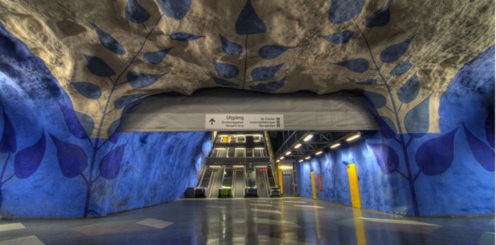 The world's third coolest subway station can be found in Stockholm