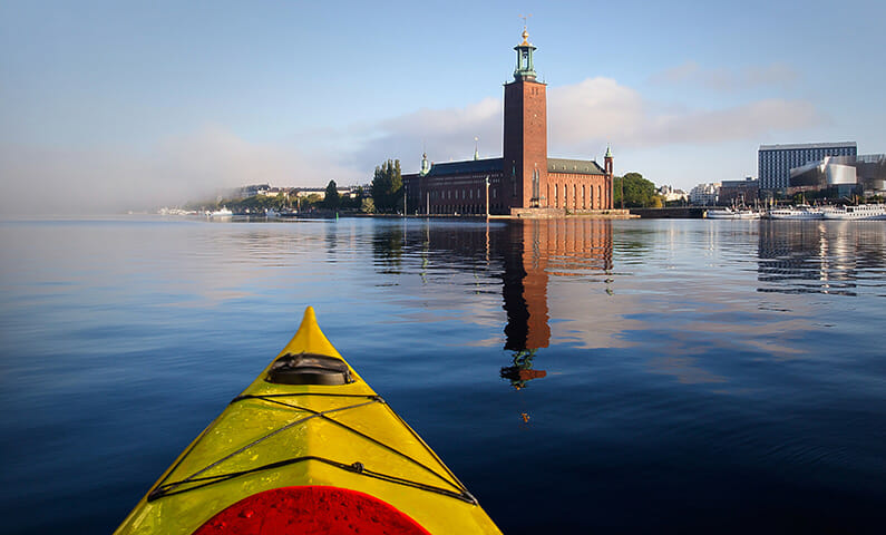 Kayaking through Stockholm