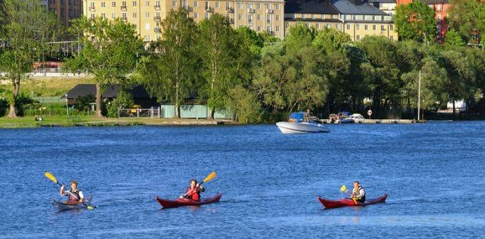 Kayaking through Stockholm