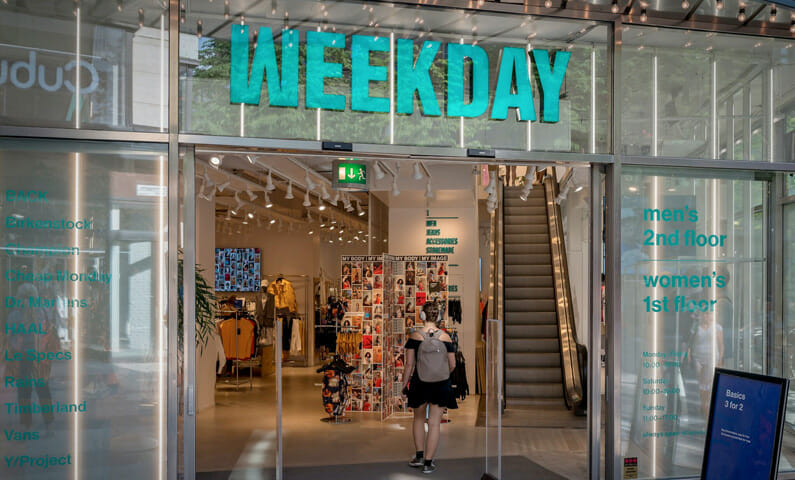 Weekday clothing store Stockholm