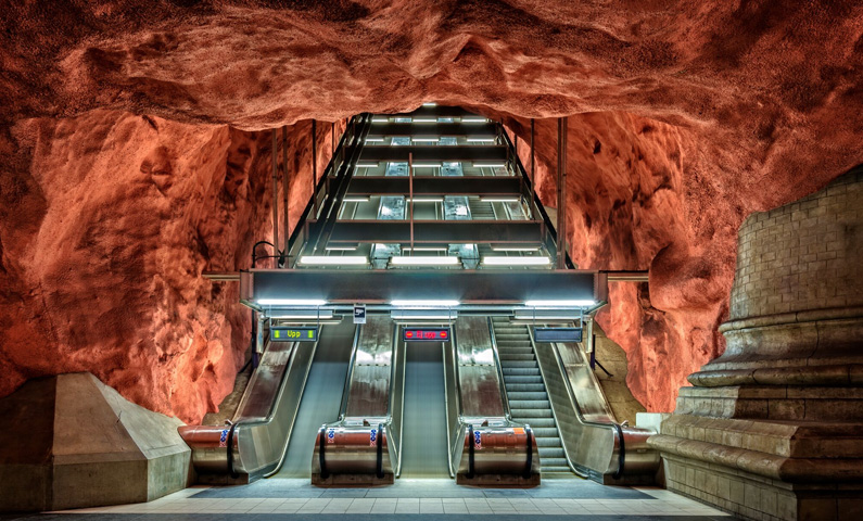 Stockholm subway escalators