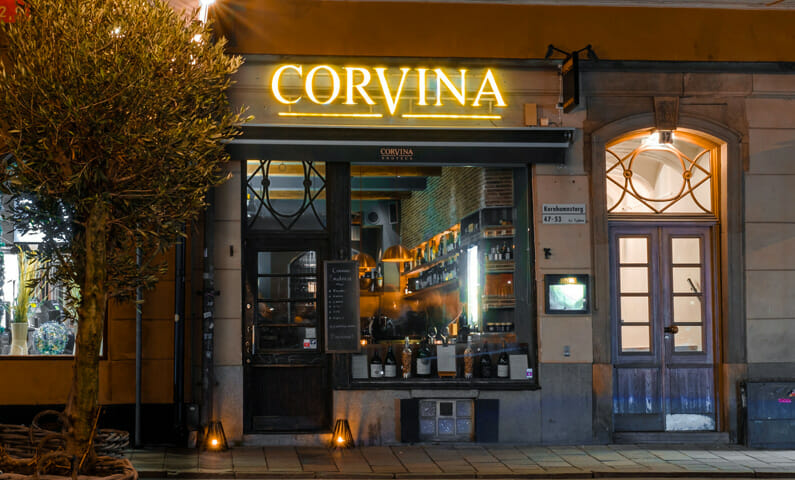 The restaurant Corvina Enoteca in Old Town, Stockholm