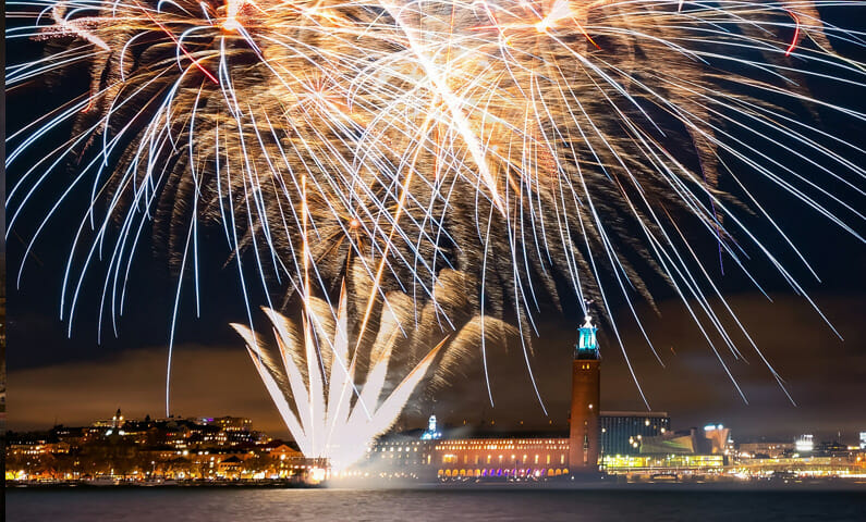 Stockholm City Hall fireworks