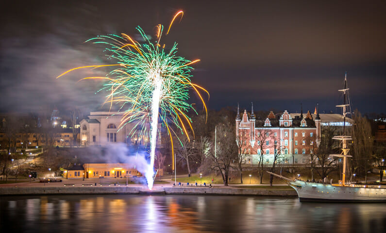 Stockholm fireworks New Year